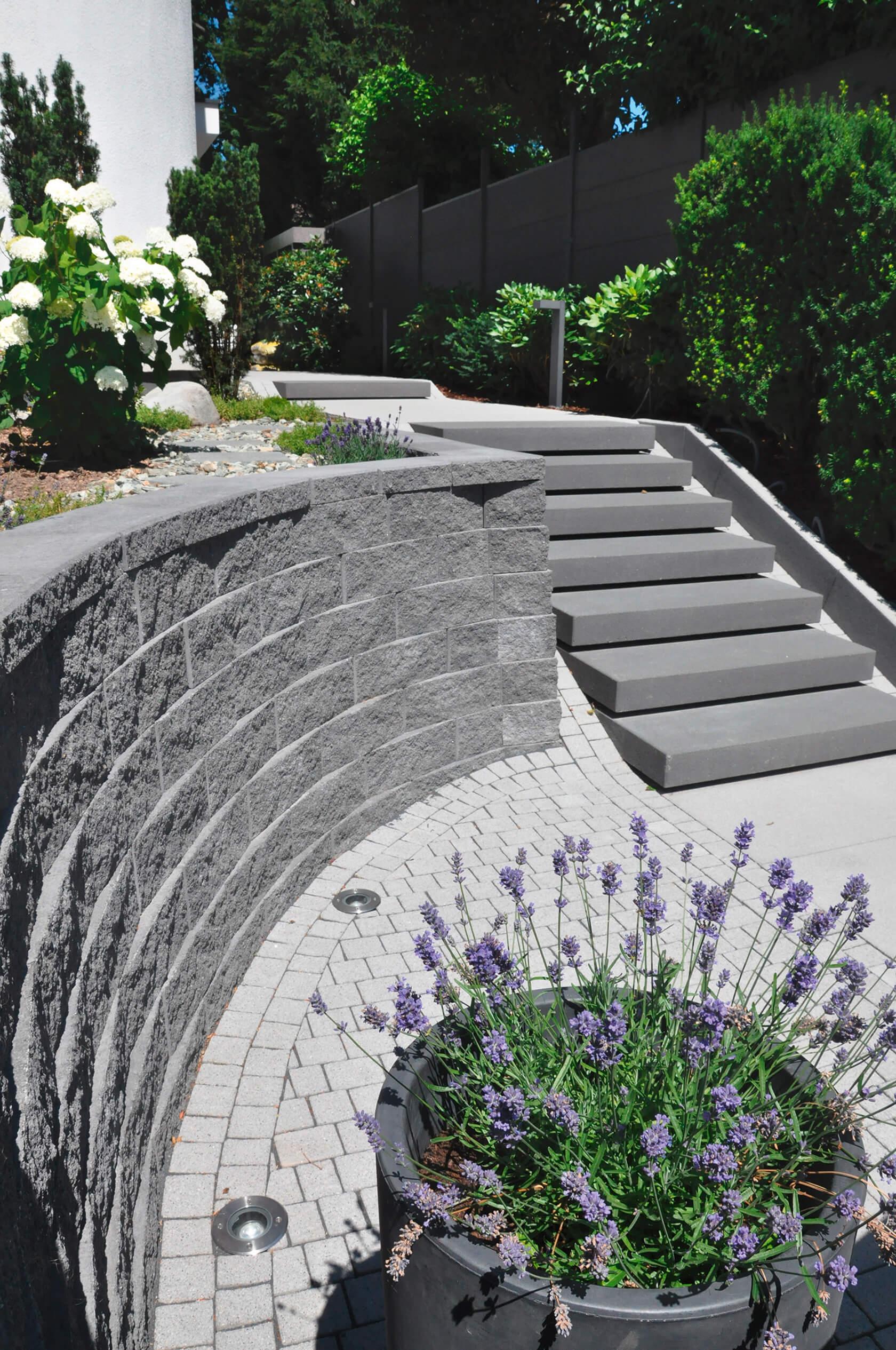 Die Mauer befestigt die höhere Gartenebene, schmale Signo Stufen verbinden die zwei Ebenen.