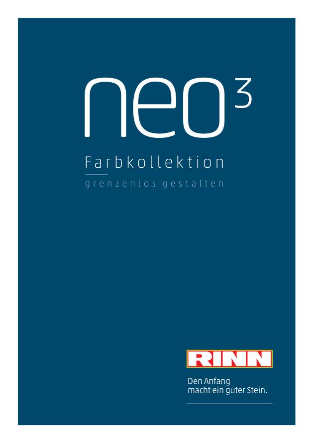 Titelbild der Rinn Broschüre der Farbkollektion neo³.