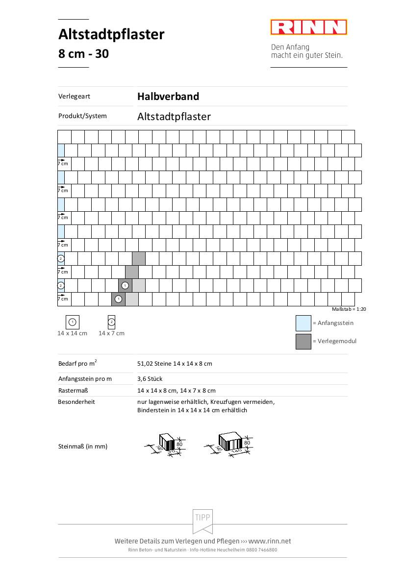 Altstadtpflaster 8 cm|Halbverband - 30