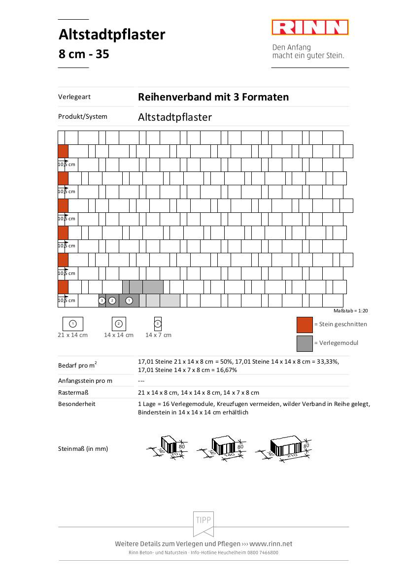 Altstadtpflaster 8 cm|Reihenverband mit 3 Formaten - 35