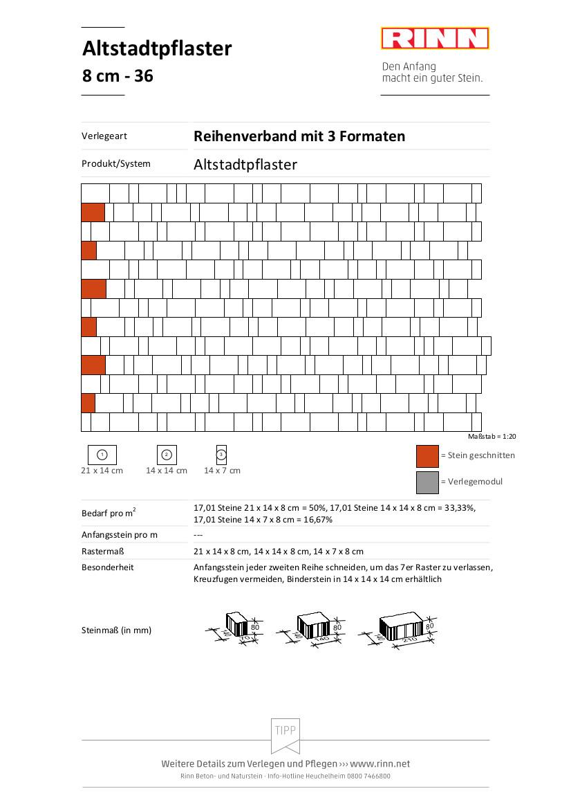 Altstadtpflaster 8 cm|Reihenverband mit 3 Formaten - 36