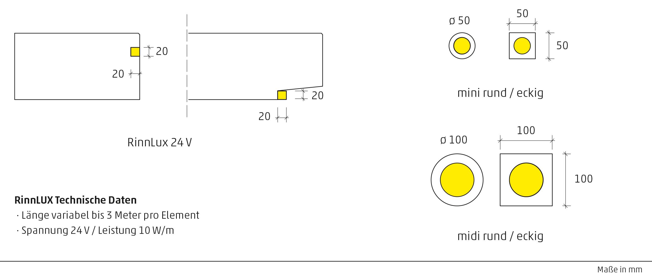Technische Zeichnung der verfügbaren LED-Einbauleuchten für Betonsteine.