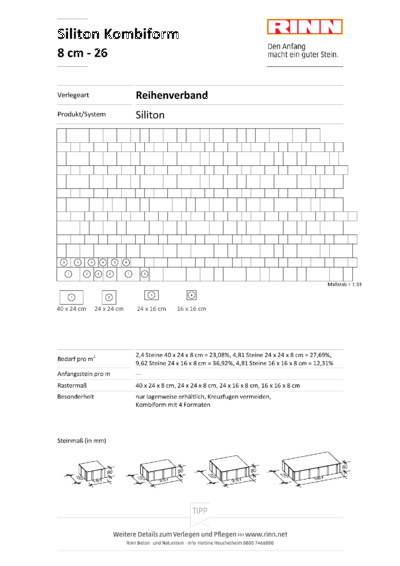 Siliton 4er - Kombi 8 cm|Reihenverband - 26