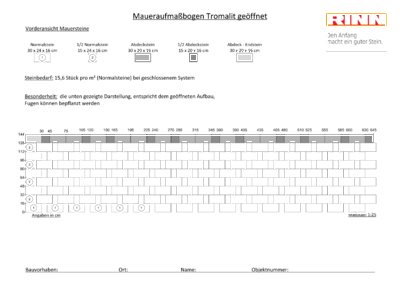 Tromalit Mauer|Maueraufmaßbogen