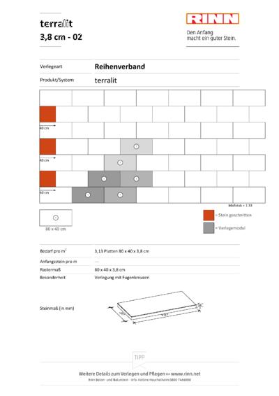 terralit Platten 3,8 cm|Reihenverband - 02