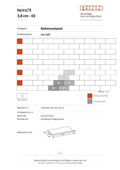 terralit Platten 3,8 cm|Reihenverband - 03