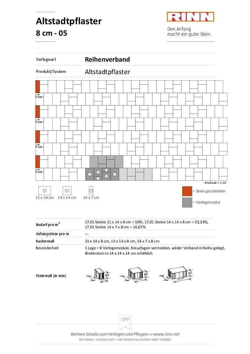 Altstadtpflaster 8 cm|Reihenverband - 05