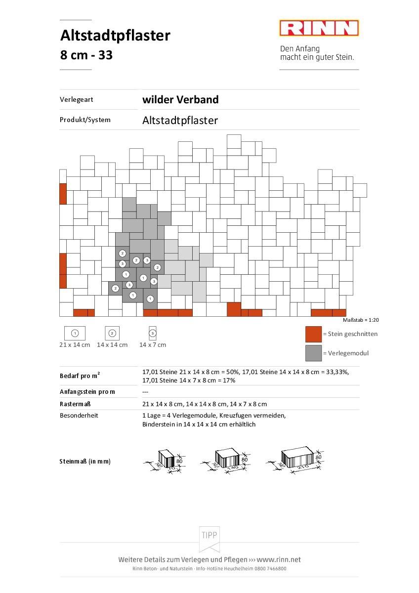 Altstadtpflaster 8 cm|wilder Verband - 33