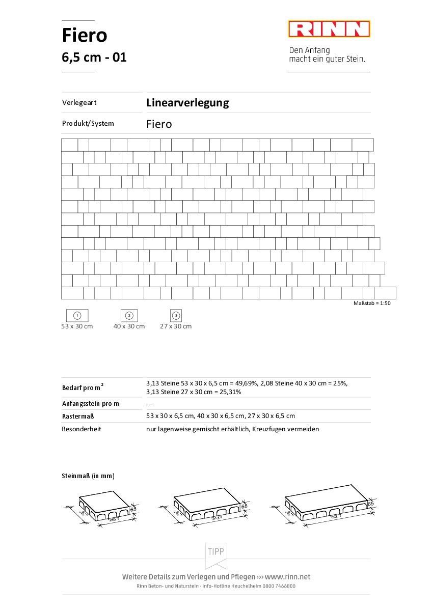 Fiero 6,5 cm|Linearverlegung - 01