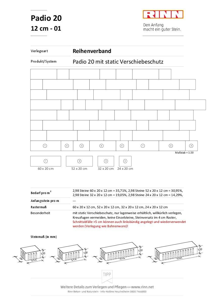 Padio 12 cm|Reihenverband - 01