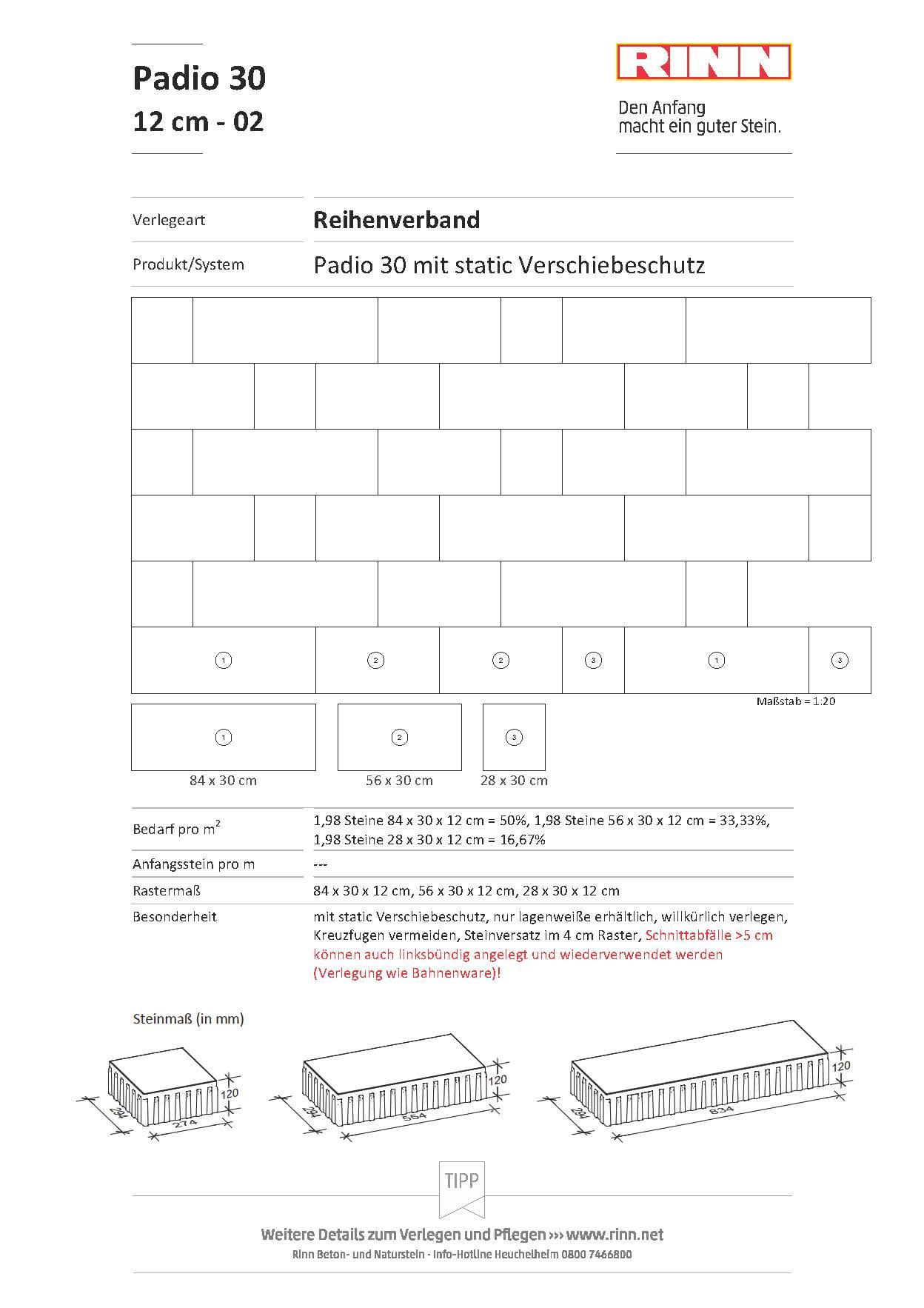 Padio 12 cm|Reihenverband - 02