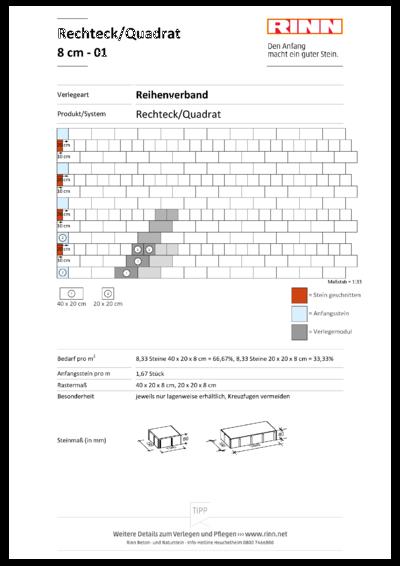 Rechteck/ Quadrat 8 cm|Halbverband - 01