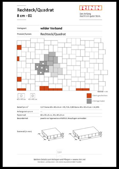 Rechteck/ Quadrat 8 cm|wilder Verband - 02