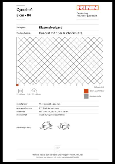 Rechteck/ Quadrat 8 cm|Diagonalverband - 04