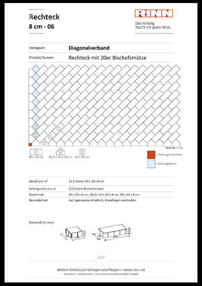 Rechteck/ Quadrat 8 cm|Diagonalverband - 06