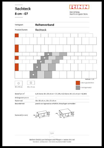 Rechteck/ Quadrat 8 cm|Reihenverband - 07