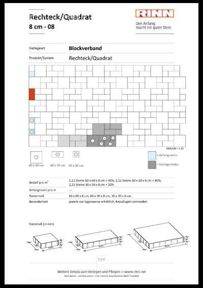 Rechteck/ Quadrat 8 cm|Blockverband - 08