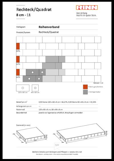 Rechteck/ Quadrat 8 cm|Reihenverband - 11