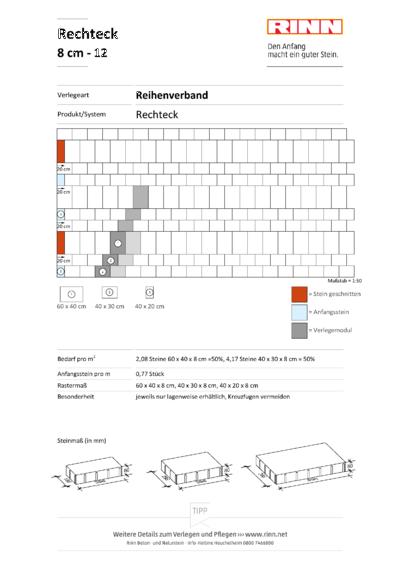 Rechteck/ Quadrat 8 cm|Reihenverband - 12