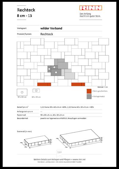 Rechteck/ Quadrat 8 cm|Reihenverband - 13