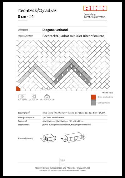 Rechteck/ Quadrat 8 cm|Diagonalverband - 14
