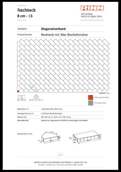 Rechteck/ Quadrat 8 cm|Diagonalverband - 15