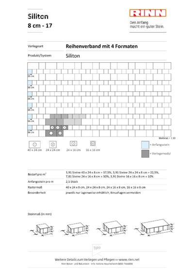 Siliton 8 cm|Reihenverband mit 4 Formaten - 17