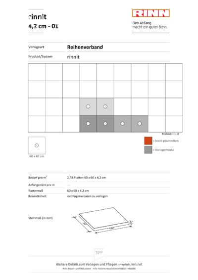rinnit Platten 4,2 cm|Reihenverband - 01