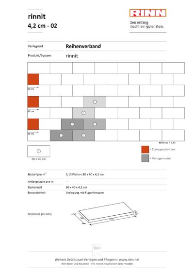 rinnit Platten 4,2 cm|Reihenverband - 02