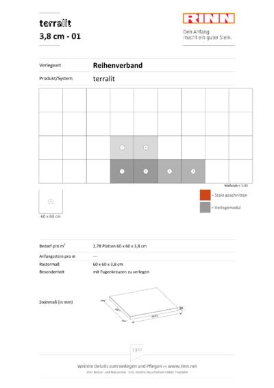 terralit Platten 3,8 cm Reihenverband - 01